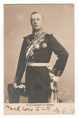 Rare Royal photo postcard of The Prince-Consort of Holland dated circa pre 1914