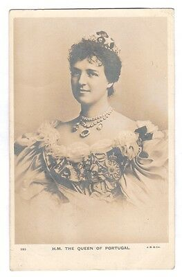 Rare royal photo postcard of The Queen of Portugal dated 1904
