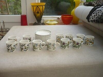 Portmeirion Vintage Botanic Garden Coffee cups and saucers x 12