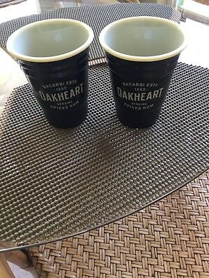 (2) Bacardi Oakheart Heavy Plastic Solo Pint Cups - Black ....NEW......Set of 2