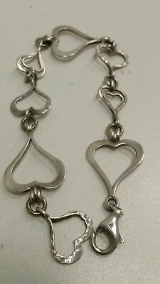 "Sterling Silver Hammered Open Hearts Link Bracelet by SILPADA 7.5"" Long"