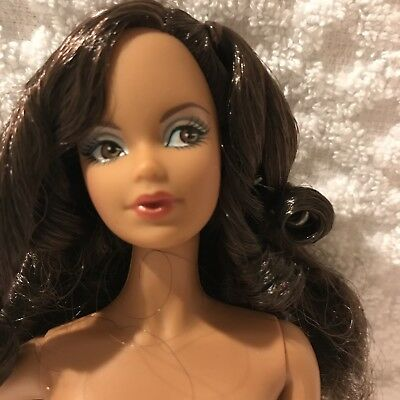 Nude Barbie Doll Model Muse  AA Birthstone Beauty Sapphire Stand COA Brown Eyes