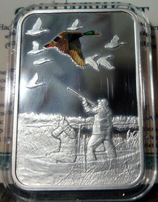 Malawi 20 kwacha 2011 Duck hunt Hunting  Silver mint. 3000 blister  №2 defect