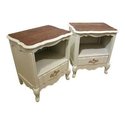 Pair of French Country Wood-Top Painted Nightstands/End Tables