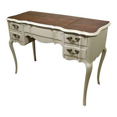 French Country Wood-Top Painted Vanity w/ Pop-Up Mirror