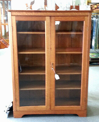 Vintage Oak Book Stand with Glass Doors