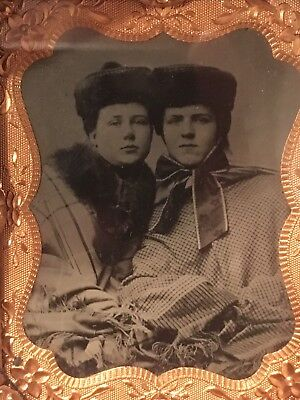 Antique Tintype Embrace Play Under Shawl Gay Interest Lesbian Photo Cased Decor