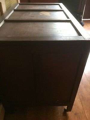 Vintage Dark Wooden Blanket Chest Pre Loved With Original Handles And Casters