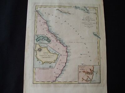 1814 Carey Map Australia New Holland South Wales Rare 203 Yr Old Antique