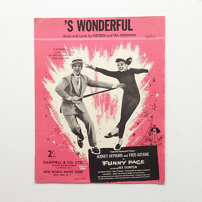 Vintage sheet music  – 'S'Wonderful' - Funny Face, Audrey Hepburn Fred Astaire