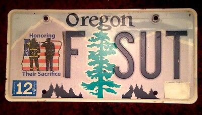 Oregon Honoring Firefighters Police Fireman Fire Law Officers License Plate Rare