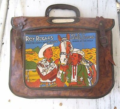 RARE ROY ROGERS & DALE EVANS VINTAGE 1955's SCHOOL BAG CAWBOY NOT  LUNCH BOX