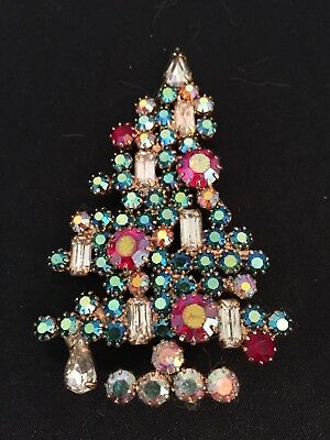Vintage Blue Red Clear Baguette Rhinestone Christmas Tree Brooch Pin unmarked