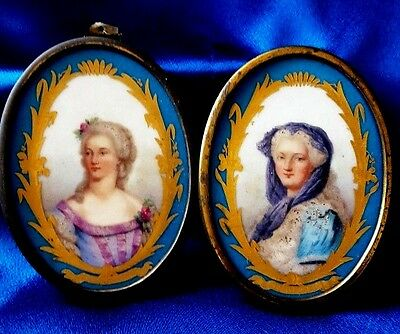 Pair of 19Century Sevres French Porcelain Plaques Metal Mounted.