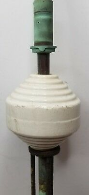 Vintage National Lightning Rod with Ribbed or Beehive Stoneware Ball