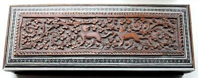 Antique  Carved Anglo Indian sadeli Wooden Box-retailed by William Whiteley