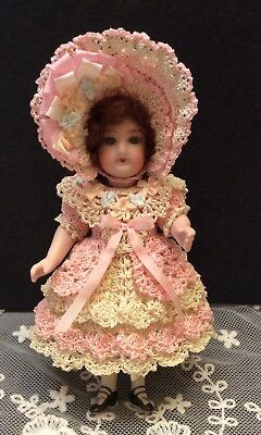 "Victorian ,French,German,Crochet Dress set for 5 1/2"" Bisque Doll By *LAURA*"