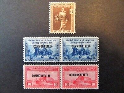 PHILIPPINES, Mi# 390, 392 & 397, COMMONWEALTH OVERPRINTS (1936) MHG