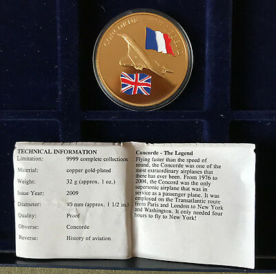 Concord History of Aviation gold plated medal