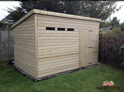 12 x 8 19mm Tanalised pressure treated T&G Heavy Duty Pent shed Security spec