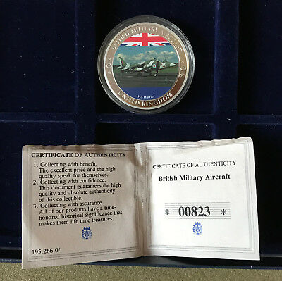 HS Harrier British Military Aircraft gold plated medallion