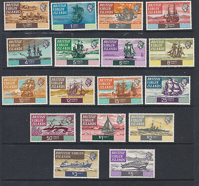 BRITISH VIRGIN ISLANDS 1970 Ships Complete to $5 SG240-256 -Lightly Mounted mint