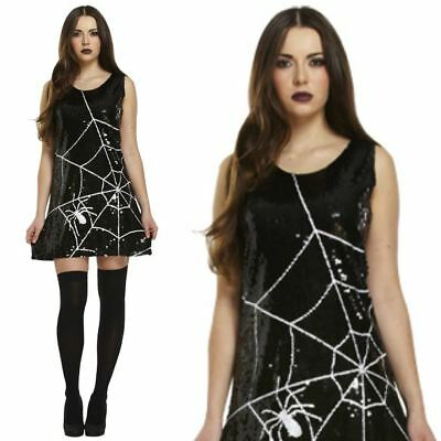 Adult Ladies Gothic Sequin Spider Web Halloween Fancy Dress Outfit Costume New