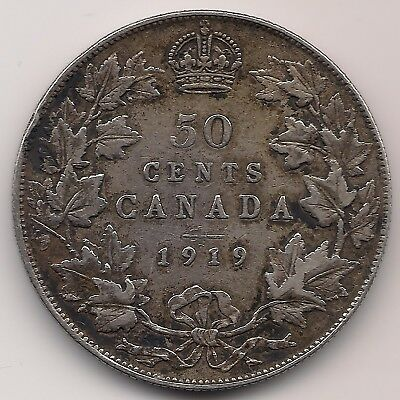 Canada 1919 ,50 Cents .925 Silver Coin, Canadian,George V