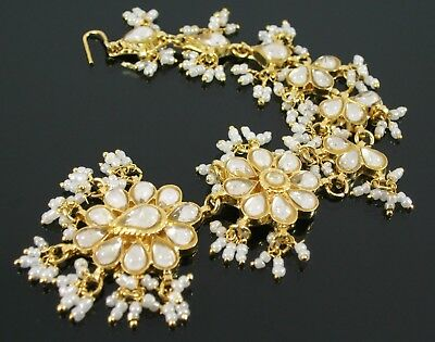 Indian Bollywood Style Gold & White Tikka Head / Hair Piece Wedding Bindi (21K)