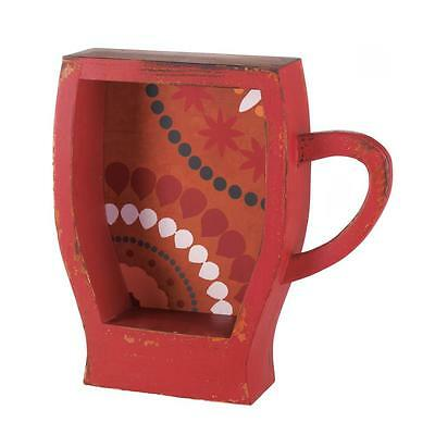 Weathed Red Coffee Cup Look Shelf Cupboard Bathroom Storage Kitchen Graphic Wood