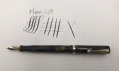 Moore L-83 Fountain Pen Flexible Maniflex Nib Gold Band
