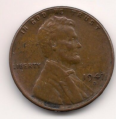 "1947 D Us.usa,america,american ""wheat"" Penny One 1 Cent Coin"