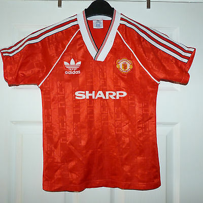 *REDUCED*  MANCHESTER UNITED 1988 ADIDAS LARGE BOYS 32 inch HOME FOOTBALL SHIRT