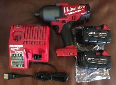 "Milwaukee 2763-22 M18 18V 1/2"" Impact Wrench, (2) 5.0Ah Batteries & Charger NEW"