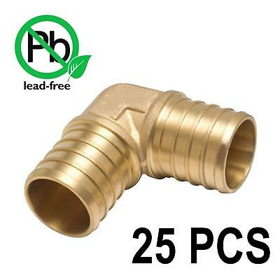 PEX 1/2 Inch Barbed 90 Elbows - Crimp Fittings - Bag of 25 / brass / 1/2""