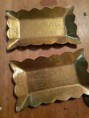 Trench art Battle of Arras pair of brass ashtrays