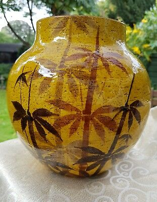 Unusual Colour with Bamboo Grass Decorated Studio Pottery Large Vase 2.5 kg