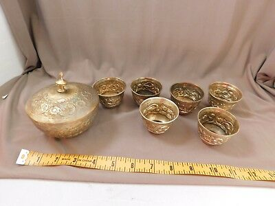 An Antique German Silver covered bowl with 6 small cups each stamped
