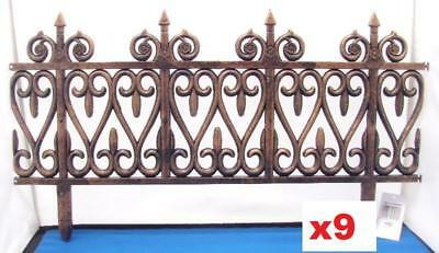 9 Sections 18ft Distressed Bronze Effect Lawn Edging Fence,Grave Side Fence. 1
