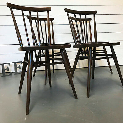 Set of 4 ERCOL CHAIRS, Ercol All Purpose Windsor Chairs Model 391, Elm seats