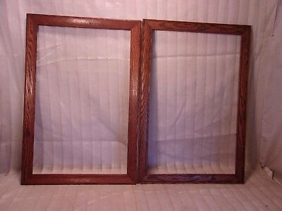 Assembled PAIR of antique OAK  16 1/2 x 24 1/4 holds 14x22 molding 1 1/2""