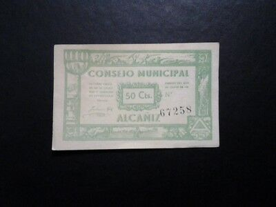 Billete Local 50 Cts Consejo Municipal De Alcañiz Teruel 1937