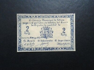 Billete Local 2 Pts Consejo Municipal Totana Murcia 1937