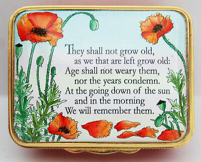 Halcyon Days Enamel Ode Of Remembrance For The Fallen Pill Box  Boxed With Cert
