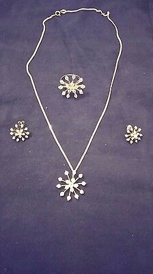 Sterling Silver&Cubic Zirconia Snowflake Jewellery Set Earrings/Ring/Necklace