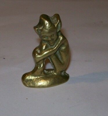 Antique  Cornish  Brass  Pixie  Mystical  Fairie  Fairy   Desktop Item 4Cm X 3Cm