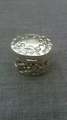 Antique solid silver ring box with embossed decoration
