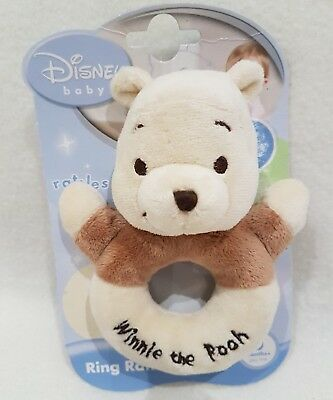 Winnie the pooh rattle soft toy ring rattle baby new