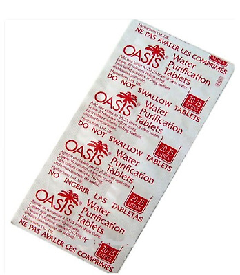 Oasis 167mg Emergency Water Purification Tablets Pack of 100 Tablets - Treats 20