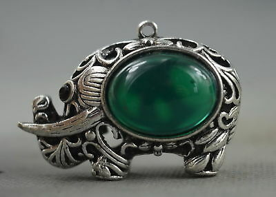 Collectable Handwork Decor Old Miao Silver Carve Elephant Inlay Agate Pendant